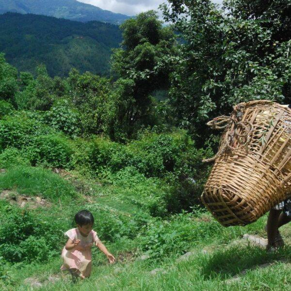 Kinder unterwegs im Bergdorf in Nepal