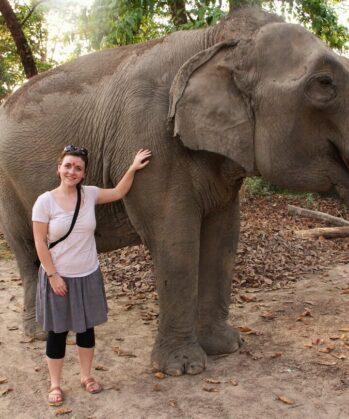 Frau streichelt trinkenden Elefant