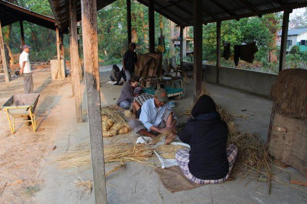 Futterbälle binden für die Elefanten