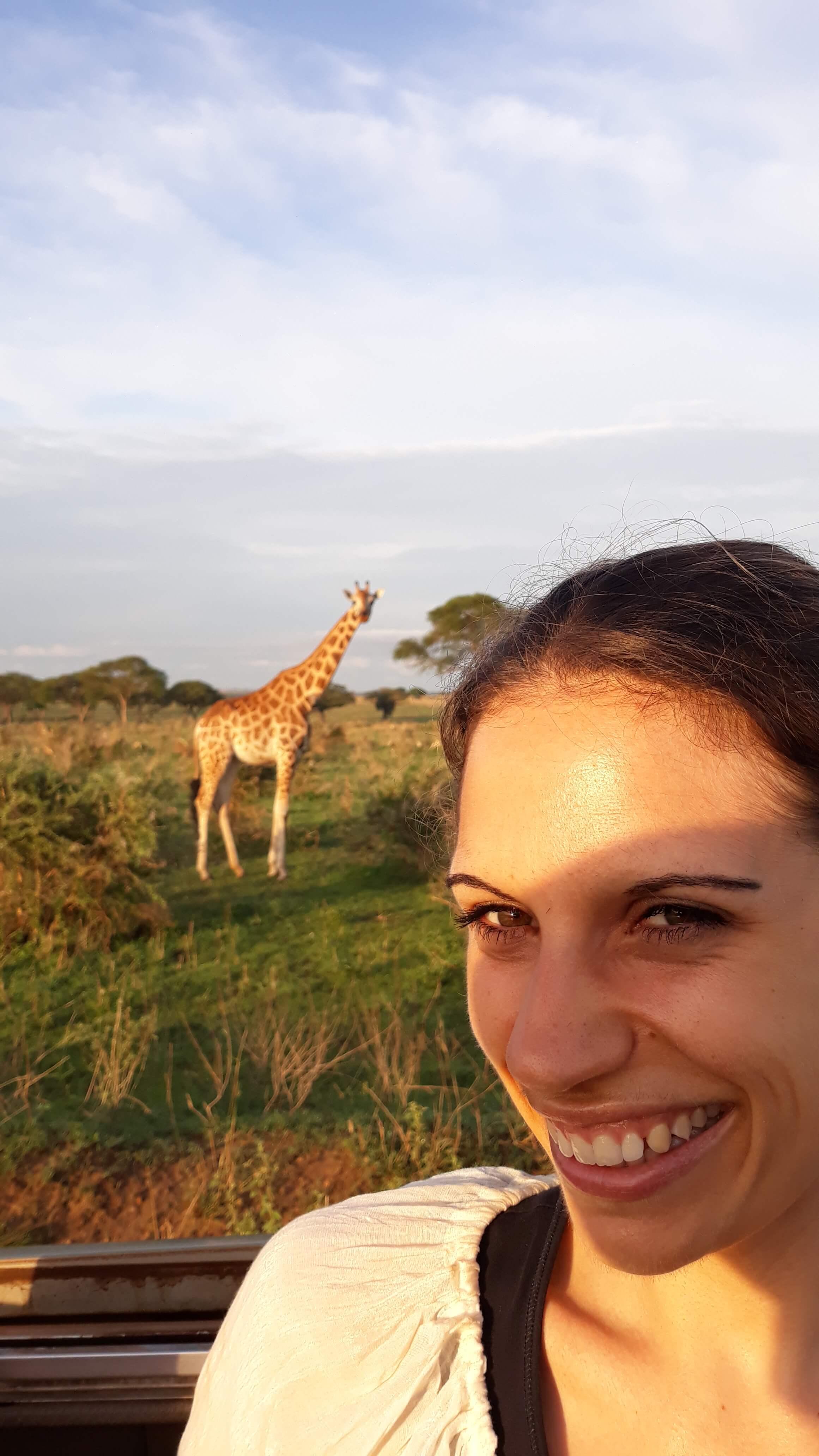 Reisende mit Giraffe im Hintergrund
