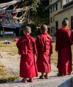 Nonnen beobachten Gruppe von Reisenden beim Yoga