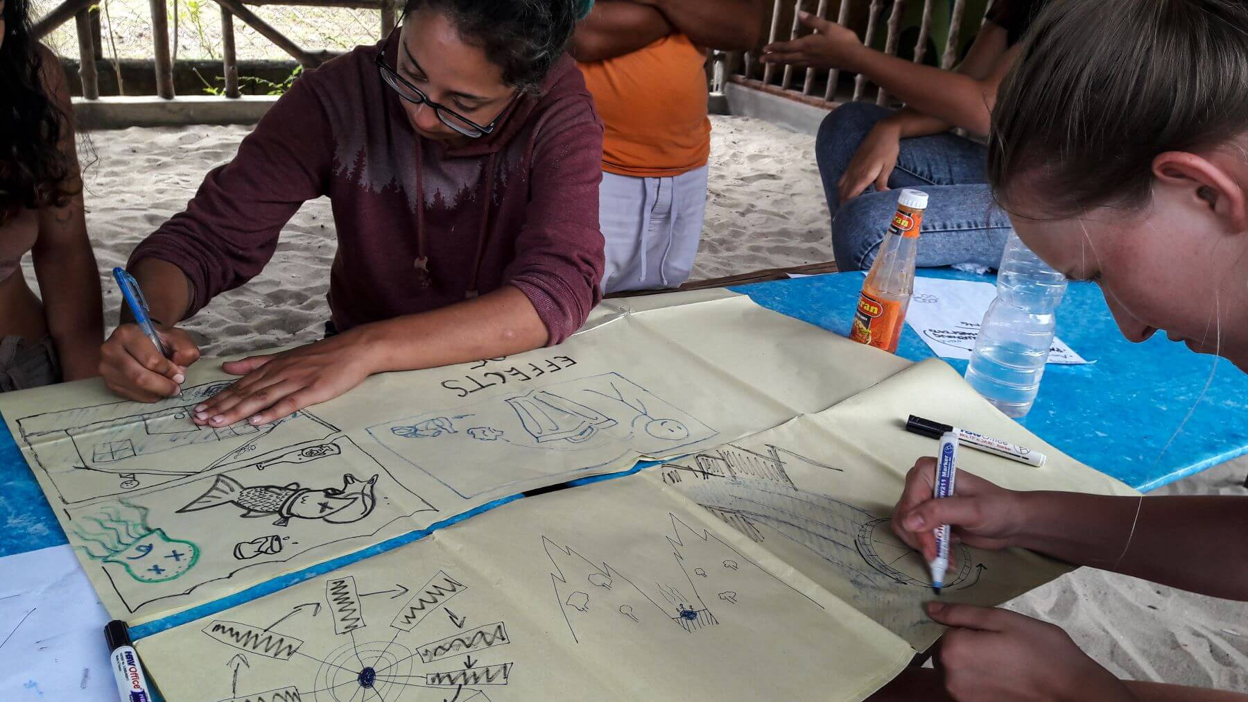 Volunteers creating an educational poster